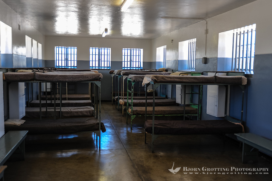 Robben Island in Table Bay off the coast of Cape Town, South Africa, most known for its apartheid prison. Jail interior.