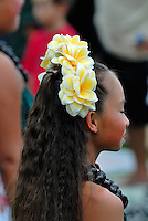 Child performer at the free monthly concert of traditional Hawaiian music and dance at the Hulihe'e Palace, in honour of Hawaiian royalty. Kailua-Kona, Big Island, Hawaii