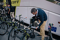 UCI checking for mechanical doping at the race start in Bergamo<br /> <br /> 112th Il Lombardia 2018 (ITA)<br /> from Bergamo to Como: 241km