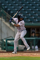 Kane County Cougars Tra Holmes (3) at bat during a Midwest League game against the Fort Wayne TinCaps at Parkview Field on April 30, 2019 in Fort Wayne, Indiana. Kane County defeated Fort Wayne 7-4. (Zachary Lucy/Four Seam Images)