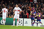 Barcelona's Pedro Fernandez celebrates with Toure Yaya and Lionel Messi as VfB Stuttgart Sami Khedira and Georg Niedermeier look dejected during their Champions League March 17, 2010. (ALTERPHOTOS/Tati Quinones)