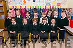 Aoife Ní Shúilleabhain, Katie Eachairn, Aisling Ní Ghealbhain, Sarah Ní Anluain, Ava Nic Gearailt and, back, Jonathan Ó Súilleabhain, Cara Ní Loingsigh, Doireann Ní Dhubhda, Jack Ó Dubhain, Dara Ó Dubhain, Róise Ní Ghealbhain, Liam Breathnach, T.J. Ó hAiniféin, from Scoil Naomh Eoin Baiste, Lios Póil, enjoying their first day at school.