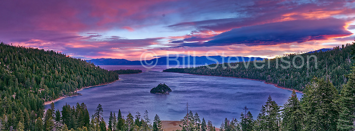 A panorama photo of  Emerald Bay at Lake Tahoe