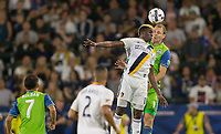 Carson, CA - Saturday July 29, 2017: Gyasi Zardes, Chad Marshall during a Major League Soccer (MLS) game between the Los Angeles Galaxy and the Seattle Sounders FC at StubHub Center.