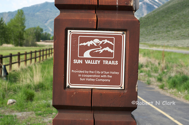 Along the paved bike path near Sun Valley, Idaho with the Ski slopes in the background
