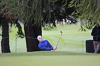 Matthew Fitzpatrick (ENG) chips from a bunker at the 16th green during Sunday's fog delayed Round 3 of the 2017 Omega European Masters held at Golf Club Crans-Sur-Sierre, Crans Montana, Switzerland. 10th September 2017.<br /> Picture: Eoin Clarke | Golffile<br /> <br /> <br /> All photos usage must carry mandatory copyright credit (&copy; Golffile | Eoin Clarke)