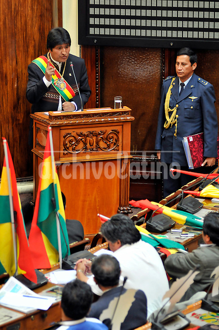President Evo Morales during his annual statement to the Congress. Morales will try to aprove in a referendum next Sunday 25th a new political Constitution for Bolivia.