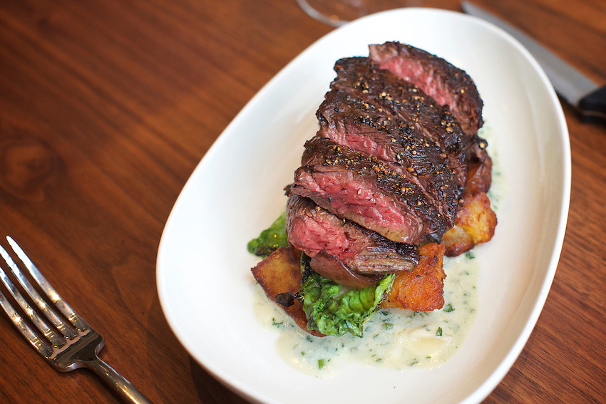 New York, NY - May 17, 2016: Skirt Steak at Laurent Tourondel's L'Amico by chef Larry Baldwin in the Eventi Hotel in Midtown South.<br /> <br /> CREDIT: Clay Williams for Haute Life.<br /> <br /> &copy; Clay Williams / claywilliamsphoto.com