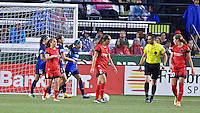Portland, Oregon - Saturday July 9, 2016: FC Kansas City forward Shea Groom (2) reacts after scoring her second goal during a regular season National Women's Soccer League (NWSL) match at Providence Park.