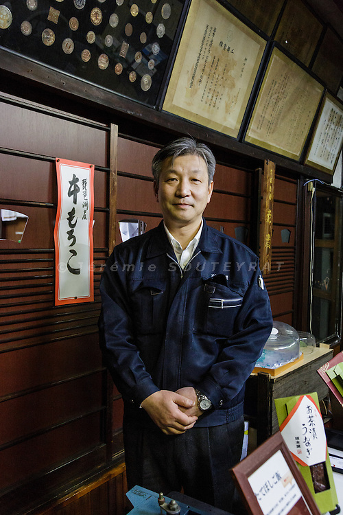 Otsu, Shiga prefecture, December 10 2015 -Mr Uchida, director of Ganso Sakamotoya, a maker of Funazushi (fish packed with salt and aged for a year before being repacked annually in rice for up to four years).