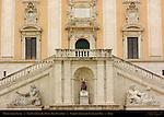 Dea Roma Tiber and Nile River Gods Michelangelo Stairs Palazzo Senatorio Campidoglio Capitoline Hill Rome