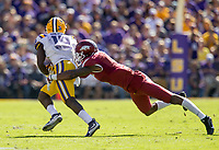 NWA Democrat-Gazette/BEN GOFF @NWABENGOFF<br /> Santos Ramirez, Arkansas strong safety, tackles Derrick Dillon, LSU wide receiver, in the second quarter Saturday, Nov. 11, 2017 at Tiger Stadium in Baton Rouge, La.