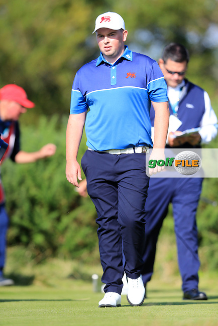 Caolan Rafferty  (GB&I) on the 6th tee during the singles matches at the Walker Cup, Royal Liverpool Golf Club, Hoylake, Cheshire, England. 07/09/2019.<br /> Picture Fran Caffrey / Golffile.ie<br /> <br /> All photo usage must carry mandatory copyright credit (© Golffile | Fran Caffrey)