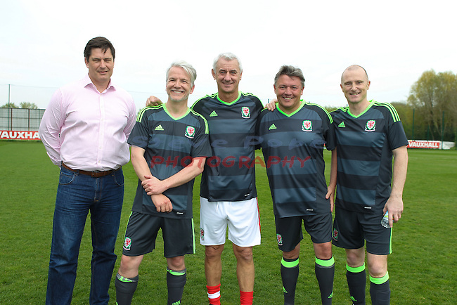 Acorn FAW Trust CEO Kickabout.<br /> FAW Trust CEO Neil Ward with Damon Rands, Ian Rush, Acorn MD Matt Southall and Simon Tee. <br /> Dragon Park Newport<br /> 06.05.16<br /> &copy;Steve Pope - Sportingwales