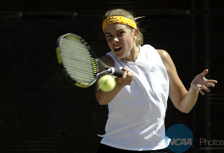 19 May 2003:  Mary Ellen Gordon of Emory University hits a forehand against Jolyn Taylor of Emory University during the Division 3 Women's Tennis Singles Championship held at Verdieck Court on the University of Redlands campus in Redlands, CA.  Gordon defeated Taylor 6-4, 6-1 for the singles national title. Todd Warshaw/NCAA Photos