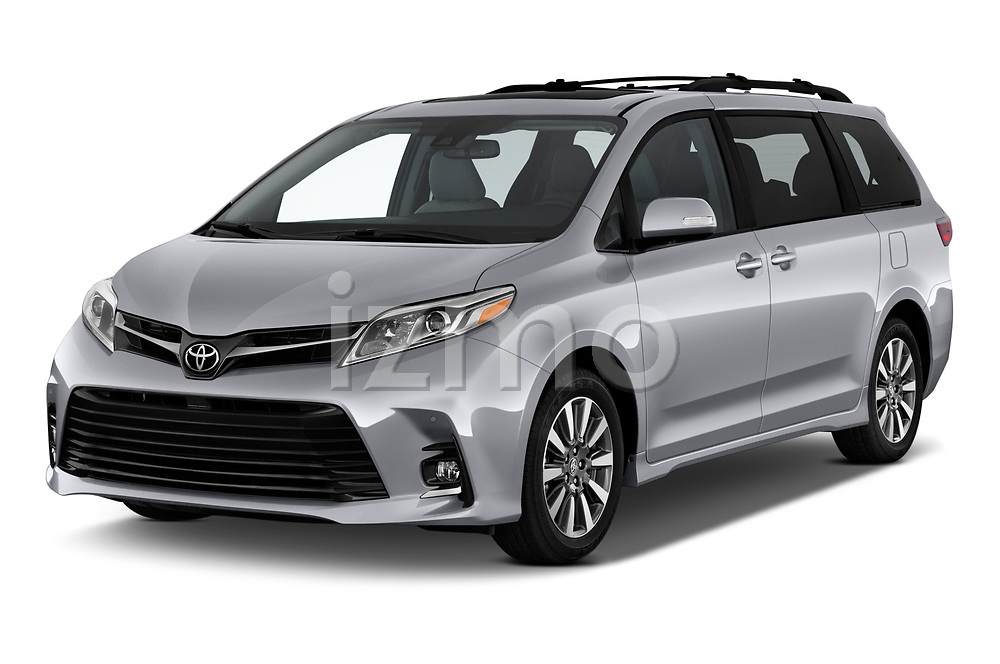 2020 Toyota Sienna Limited FWD 5 Door Mini Van angular front stock photos of front three quarter view