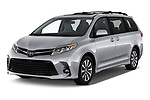 2018 Toyota Sienna Limited FWD 5 Door Mini Van angular front stock photos of front three quarter view