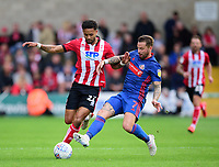 Lincoln City's Bruno Andrade battles with Sunderland's Chris Maguire<br /> <br /> Photographer Andrew Vaughan/CameraSport<br /> <br /> The EFL Sky Bet League One - Lincoln City v Sunderland - Saturday 5th October 2019 - Sincil Bank - Lincoln<br /> <br /> World Copyright © 2019 CameraSport. All rights reserved. 43 Linden Ave. Countesthorpe. Leicester. England. LE8 5PG - Tel: +44 (0) 116 277 4147 - admin@camerasport.com - www.camerasport.com