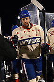 Rochester Amerks winger Colton Gillies (18) leaves the ice after The Frozen Frontier outdoor AHL game against the Lake Erie Monsters at Frontier Field on December 13, 2013 in Rochester, New York.  (Copyright Mike Janes Photography)