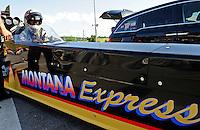 Jun. 15, 2012; Bristol, TN, USA: NHRA top fuel dragster driver Steve Torrence during qualifying for the Thunder Valley Nationals at Bristol Dragway. Mandatory Credit: Mark J. Rebilas-