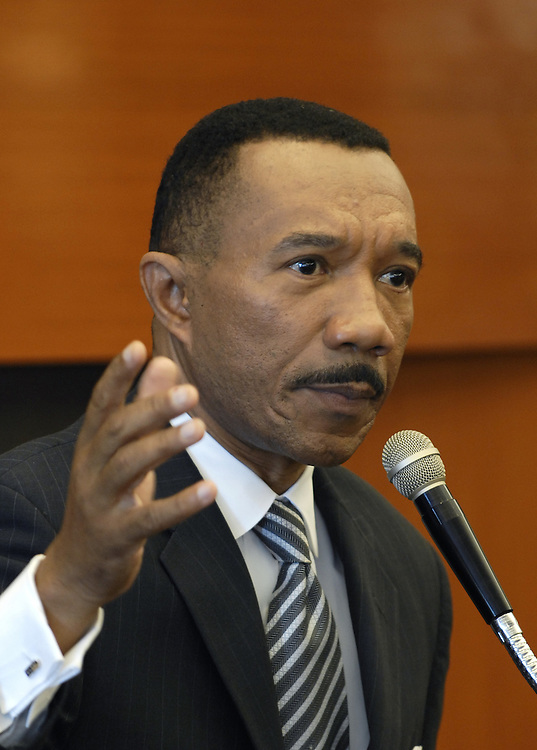Former Congressmen and head of the NAACP, Kweisi Mfume running for the U.S. Senate in Maryland meets with residents of Riderwood Retirement Community.