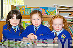 Isabelle Brosnan, Laura O'Donoghue and  Aine Walsh learning to read  at Kilmurry NS, Cordal..