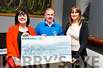 The proceeds from the Ann Murphy Wellness Day in the amount of &euro;3160 that was held in the An Rioch Athetic track, been presented to Joe Hennebery of Kerry Hospice by Ann Murphy on Tuesday night in Kearneys Bar, Casleisland on Tuesday night. <br /> L to r: Eileen Lane-O&rsquo;Keeffe, Joe Hennebery and Ann Murphy.