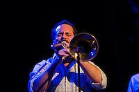 Aaron Johnson takes a trombone solo while Antibalas performs at Union Transfer in Philadelphia on December 13, 2012.