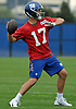 Kyle Lauletta #17, quarterback, practices during the second day of New York Giants Rookie Minicamp held at Quest Diagnostics Training Center in East Rutherford, NJ on Saturday, May 12, 2018.