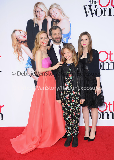 Leslie Mann, Judd Apatow and daughters attends The Twentieth Century Fox L.A. Premiere of Th eOther Woman held at The Regency Village Westwood in Westwood, California on April 21,2014                                                                               © 2014 Hollywood Press Agency