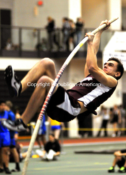 NEW HAVEN,  CT, 29 JANUARY  2012-012912JS11-Naugatuck's Colton Wagner competes in the pole vault uring the NVL Indoor Track and Field Championships Tuesday at the Floyd Little Athletic Center at Hillhouse High School in New Haven. .Jim Shannon Republican-American
