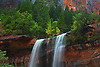 Waterfalls are produced after a hard rain from the Emerald Pools at Zion National Park,Utah