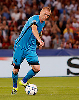 Calcio, Champions League, Gruppo E: Roma vs Barcellona. Roma, stadio Olimpico, 16 settembre 2015.<br /> FC Barcelona&rsquo;s Jeremy Mathieu in action during a Champions League, Group E football match between Roma and FC Barcelona, at Rome's Olympic stadium, 16 September 2015.<br /> UPDATE IMAGES PRESS/Riccardo De Luca<br /> <br /> *** ITALY AND GERMANY OUT ***