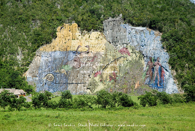 Mural de la Prehistoria fresco in the Vinales Valley, Cuba.