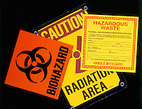 HAZARD SIGNS<br /> Biohazard, Radiation area, Hazardous waste
