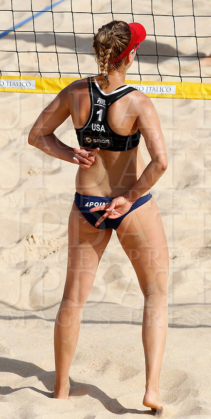 April Ross, of the United States, in action at the Beach Volleyball World Tour Grand Slam, Foro Italico, Rome, 21 June 2013.<br /> UPDATE IMAGES PRESS/Isabella Bonotto