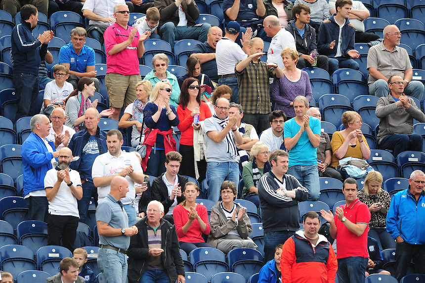 Preston North End fans before their sides game against Ipswich Town<br /> <br /> Photographer Chris Vaughan/CameraSport<br /> <br /> Football - The Football League Sky Bet Championship - Preston North End v Ipswich Town - Saturday 22nd August 2015 - Deepdale - Preston<br /> <br /> &copy; CameraSport - 43 Linden Ave. Countesthorpe. Leicester. England. LE8 5PG - Tel: +44 (0) 116 277 4147 - admin@camerasport.com - www.camerasport.com