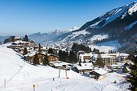 Austria, Vorarlberg, Kleinwalsertal, Hirschegg: at background Riezlern and Allgaeu Alps with summit Nebelhorn | Oesterreich, Vorarlberg, Kleinwalsertal, Hirschegg: im Hintergrund Riezlern und das Nebelhorn