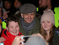Pictured: Actor Michael Sheen has selfies taken with local people at the Christmas Lights switch on in Ystradgynlais, Wales, UK.<br /> Re: Hundreds of people gathered in Ystadgynlais, south Wales, for the Christmas lights switch on by actor Michael Sheen.<br /> The Port Talbot-raised, Hollywood actor led the big countdown to begin the Christmas festivities in Gorsedd Park.<br /> The event comes in the wake of the star taking a shine to the area after filming for a TV programme.