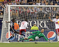 New England Revolution goalkeeper Preston Burpo (24) makes a save. Preston Burpo left the game later with a lower right leg fracture. The New England Revolution defeated the New York Red Bulls, 3-2, at Gillette Stadium on May 29, 2010.
