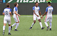 Portland, OR - Saturday August 12, 2017: Taylor Booth, Christopher Gloster, Bryan Reynolds, Jr.celebarate a goal during friendly match between the USMNT U17's and Chile u17's at Providence Park in Portland, OR.