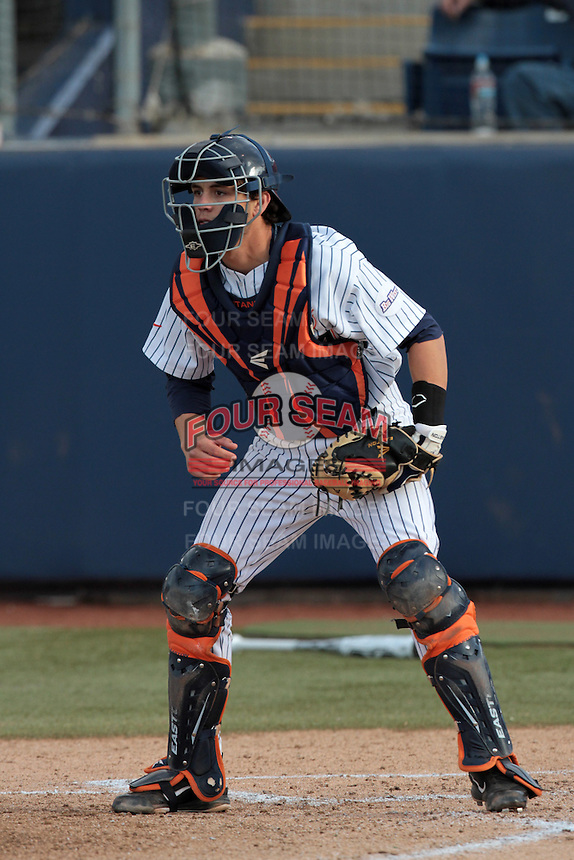 Casey Watkins #54 of the Cal State Fullerton Titans in the field during a game against the Loyola Marymount Lions at Goodwin Field on February 29, 2012 in Fullerton,California. Cal State Fullerton defeated LMU 6-2.(Larry Goren/Four Seam Images)
