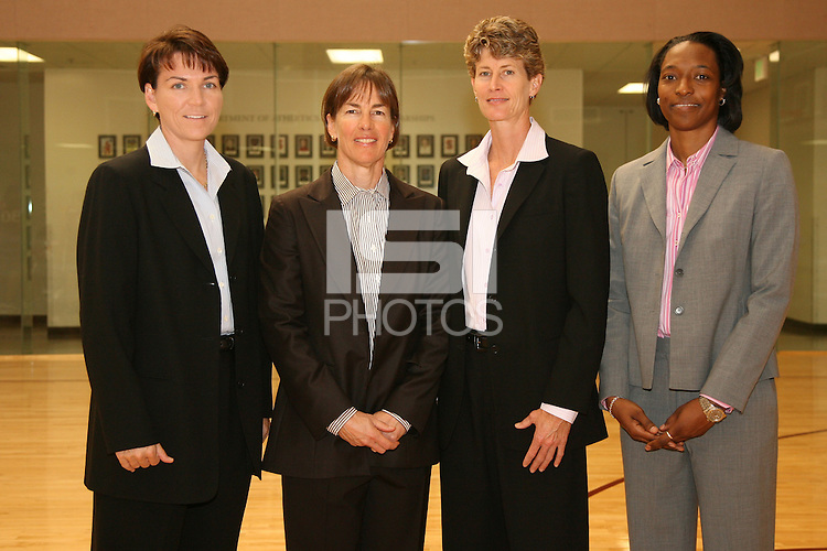 Karen Middleton, Tara Vanderveer, Amy Tucker and Charmin Smith during photo day at the Arrillaga Family Sports Center in Stanford, CA.