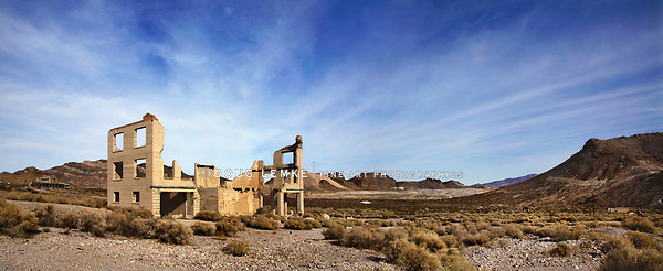 A Panoramic View Of A Ruined Building At Rhyolite Nevada, An Abandoned Town Near Death Valley, USA