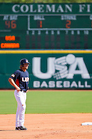 Brett Jackson #6 of the United States World Cup/Pan Am Team takes his lead off of second base against Team Canada at the USA Baseball National Training Center on September 29, 2011 in Cary, North Carolina.  (Brian Westerholt / Four Seam Images)