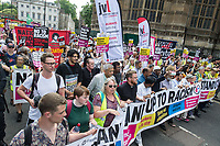 Anti fascists from Stand Up To Racism, Unite Against Fascism and the Anti Fascist Network protest against the far right 'Free Tommy - Welcome Trump' demonstration in Whitehall. Hundreds of Police kept the two sides apart though there were scuffles. 14-7-18