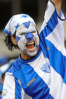 A Honduras (HON) fan cheers for his team. Honduras (HON) defeated Canada (CAN) 1-0 during a quarterfinal match of the CONCACAF Gold Cup at Lincoln Financial Field in Philadelphia, PA, on July 18, 2009.
