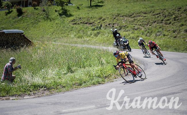 Richie Porte (AUS/BMC) trying to minimise losing time descending the Col de la Colombi&egrave;re<br /> <br /> 69th Crit&eacute;rium du Dauphin&eacute; 2017<br /> Stage 8: Albertville &gt; Plateau de Solaison (115km)