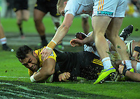 Victor Vito scores during the Super Rugby semifinal match between the Hurricanes and Chiefs at Westpac Stadium, Wellington, New Zealand on Saturday, 30 July 2016. Photo: Dave Lintott / lintottphoto.co.nz