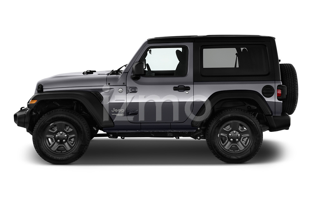 Car Driver side profile view of a 2020 JEEP Wrangler Sport 3 Door SUV Side View